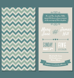 Vintage Invitation card with background zigzag vector image