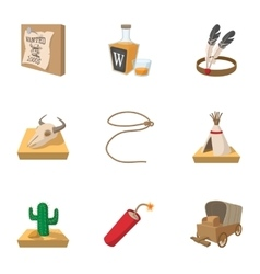 Wild West icons set cartoon style vector image vector image