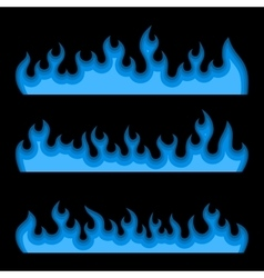 Blue fire burning flames set on a black background vector