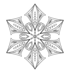 Zentangle elegant snow flake for adult coloring vector