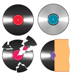 Black vinyl records vector