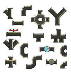 pipeline icons set flat style vector image
