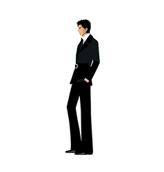 Side view of man standing vector