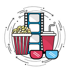 Filmstrip with cinematography tools icon vector
