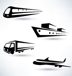 cargo transportation icons set logistics concept vector image