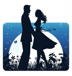 Couple banner night vector