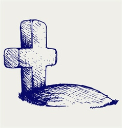 Grave with a cross vector