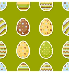 Easter pattern with colorful different eggs vector