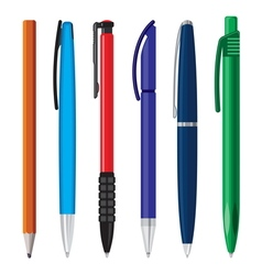 Office pens and pencils vector image
