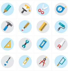 Flat icons for tools related icons vector