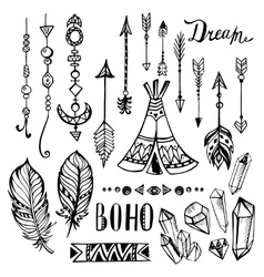 Hand drawn ethnic collection set with vector