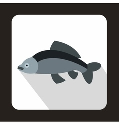 Gray fish icon in flat style vector
