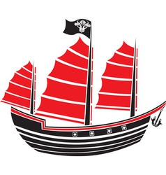 Asian boat stencil vector