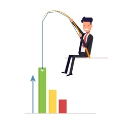 Businessman or manager pulling graph to going up vector image
