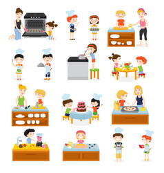Cartoon kids cooking collection vector