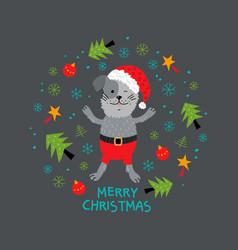 Christmas dog xmas puppy animal greeting card vector