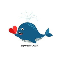 Cute blue whale with heart vector