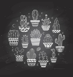 Cute hand drawn cactuse set vector