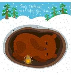 Cute sleeping bear vector