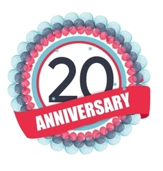 Cute template 20 years anniversary with balloons vector