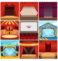 different colorful cartoon stages set vector image vector image