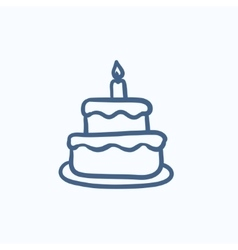 Easter cake with candle sketch icon vector image vector image