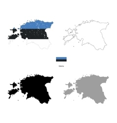 Estonia country black silhouette and with flag on vector
