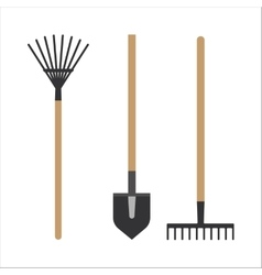 Garden rake equipment flat set vector
