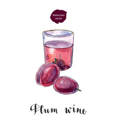 glass of plum wine vector image vector image