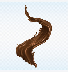 Hot chocolate splash realistic vector