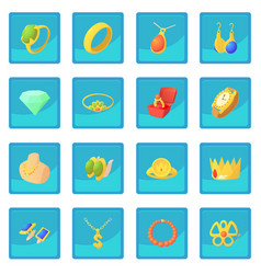 Jewelry items icon blue app vector