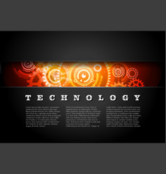 Metal Technology Panel With Glowing Gears vector image vector image