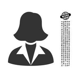 Office lady icon with job bonus vector