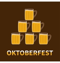 Oktoberfest six beer glass mug pyramid flat vector