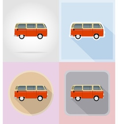 old retro transport flat icons 15 vector image vector image