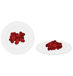 Red beans on the plates vector