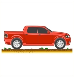 Red pickup suv car off-road 4x4 icon colored vector