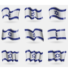 Set of israel flags in the air vector