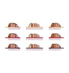 Set of retro flat bookshelves vector image vector image