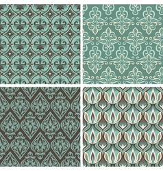 set with vintage seamless patterns vector image