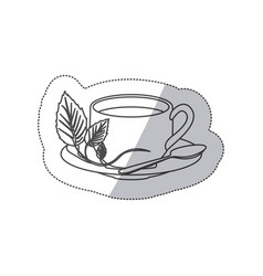 Sticker grayscale contour of hot cup of tea vector