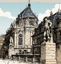 Vintage hand drawn view of versailles chapel vector