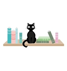 Black cat and books vector image