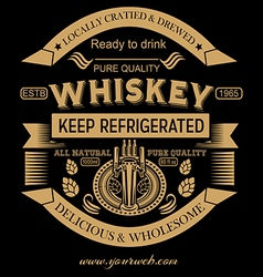 Whiskey beer gold label badges vector