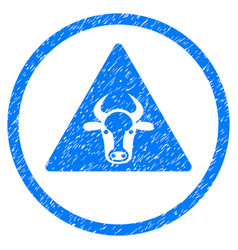 Cow warning rounded grainy icon vector