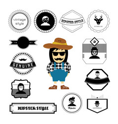Character cartoon hipster style vector