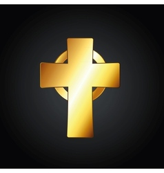 Golden celtic cross vector
