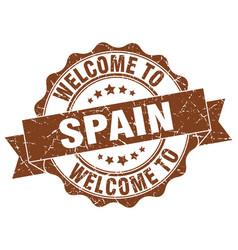 Spain round ribbon seal vector