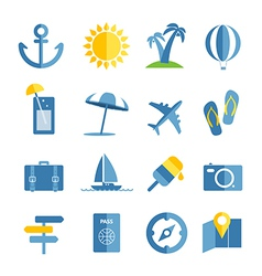 Summer seaside vacation icons vector