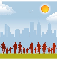 Parent and child silhouettes vector